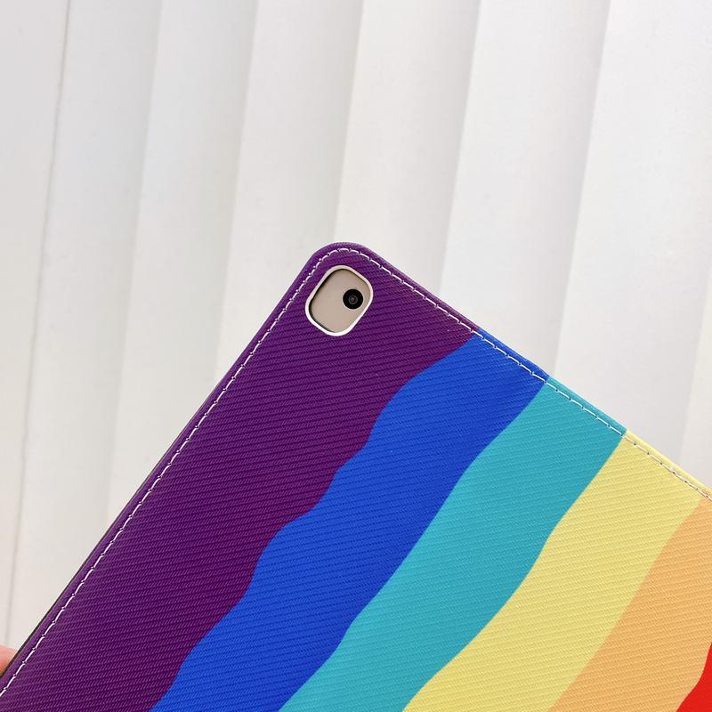 笑脸彩虹条纹iPad mini12345 10.2/10.5 iPad5678 11Pro/10.9皮套