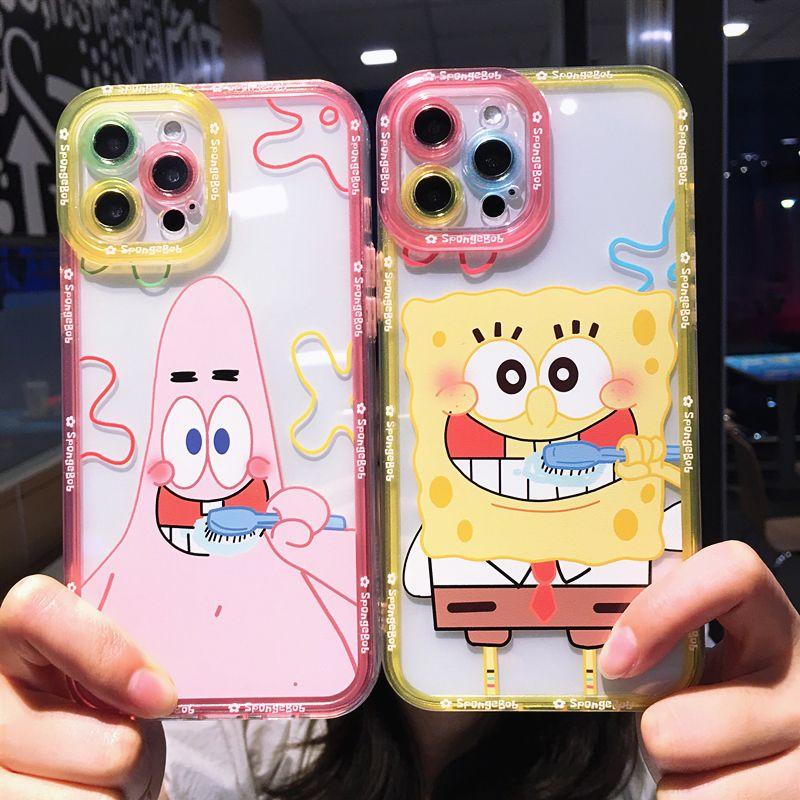 天使眼系列刷牙海绵宝宝派大星iPhone7-iPhone12 Pro Max软壳