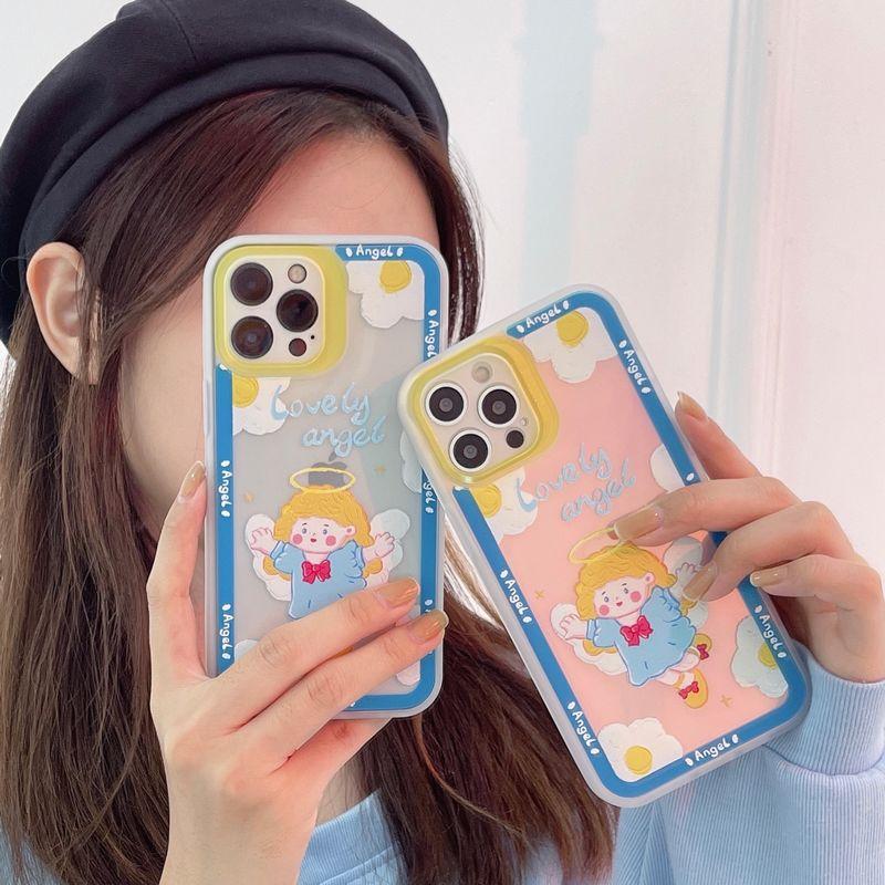 ins卡通可爱小天使+极光纸TPU魅眼镜款iPhoneX-iPhone12 Pro Max软壳