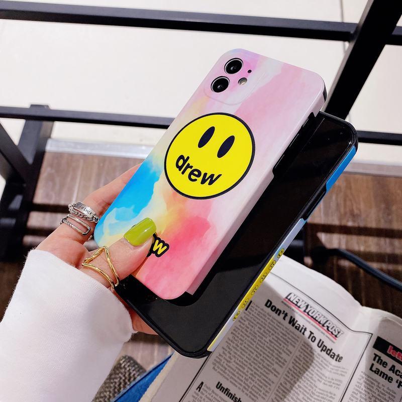 全包直边4角侧边图案 渐变DREW笑脸iP7-iPhone12ProMax软壳